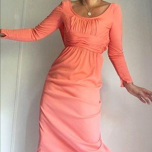 Vintage 70s Salmon Red Maxi Boho Dress